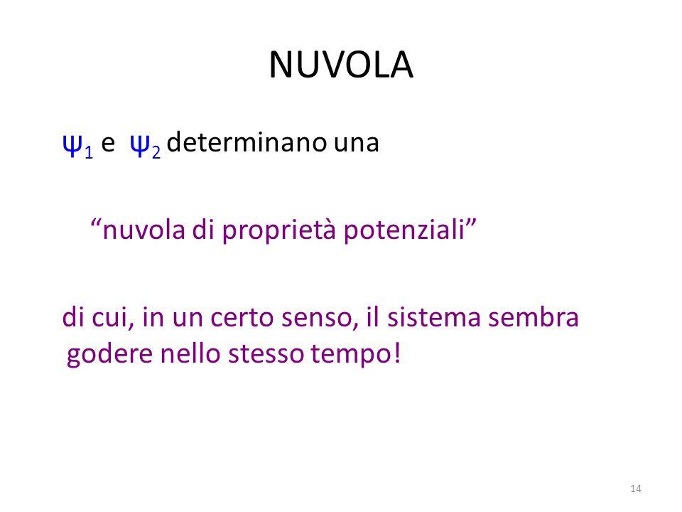 14 NUVOLA ψ 1 e ψ 2 determinano una nuvola di proprietà potenziali di cui, in un certo senso, il sistema sembra godere nello stesso tempo!