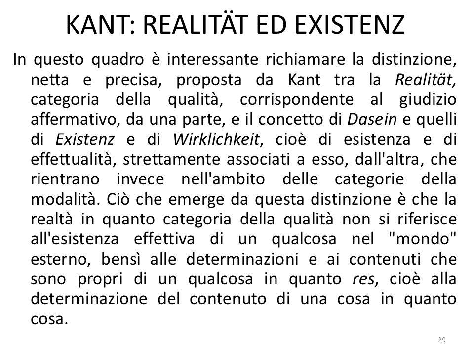 29 KANT: REALITÄT ED EXISTENZ In questo quadro è interessante richiamare la distinzione, netta e precisa, proposta da Kant tra la Realität, categoria