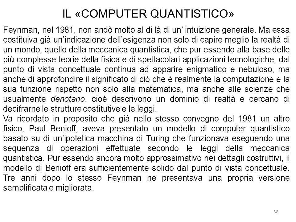 38 IL «COMPUTER QUANTISTICO» Feynman, nel 1981, non andò molto al di là di un intuizione generale. Ma essa costituiva già unindicazione dellesigenza n