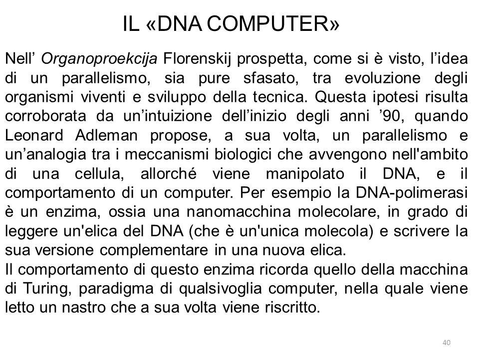 40 IL «DNA COMPUTER» Nell Organoproekcija Florenskij prospetta, come si è visto, lidea di un parallelismo, sia pure sfasato, tra evoluzione degli orga
