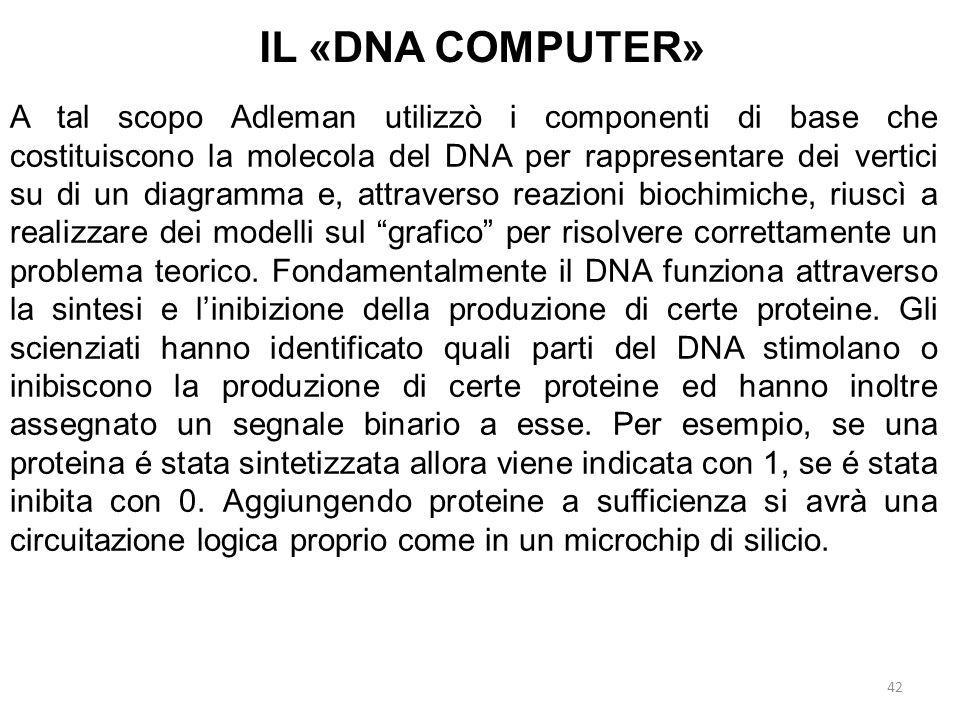 42 IL «DNA COMPUTER» A tal scopo Adleman utilizzò i componenti di base che costituiscono la molecola del DNA per rappresentare dei vertici su di un di