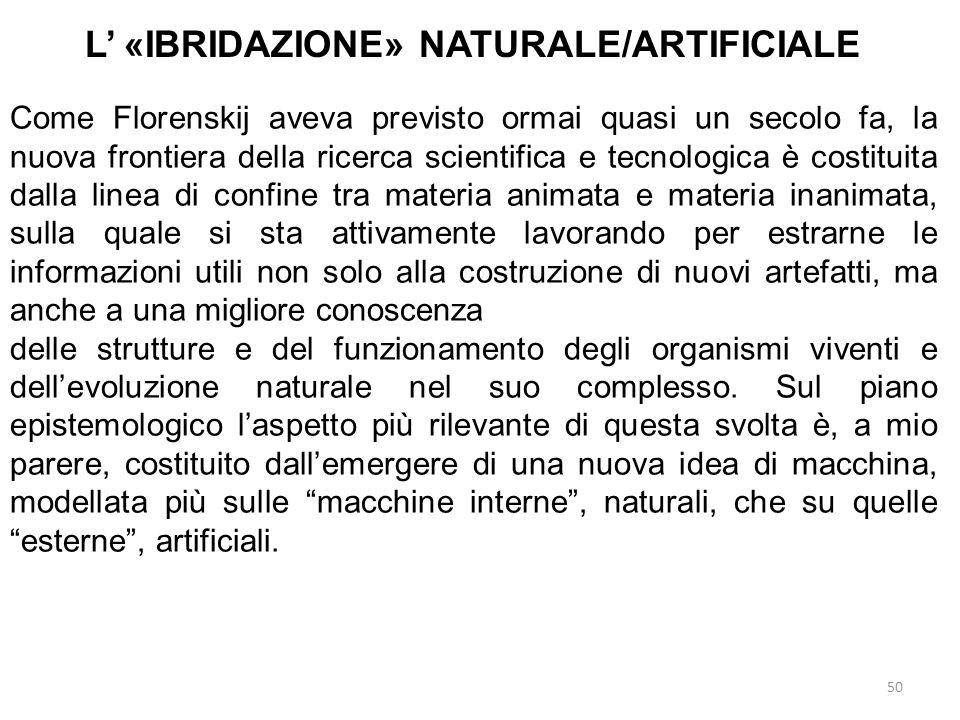 50 L «IBRIDAZIONE» NATURALE/ARTIFICIALE Come Florenskij aveva previsto ormai quasi un secolo fa, la nuova frontiera della ricerca scientifica e tecnol