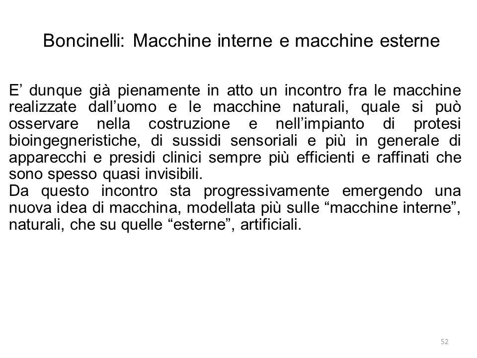 52 Boncinelli: Macchine interne e macchine esterne E dunque già pienamente in atto un incontro fra le macchine realizzate dalluomo e le macchine natur