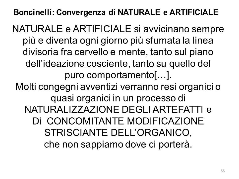 55 Boncinelli: Convergenza di NATURALE e ARTIFICIALE NATURALE e ARTIFICIALE si avvicinano sempre più e diventa ogni giorno più sfumata la linea diviso