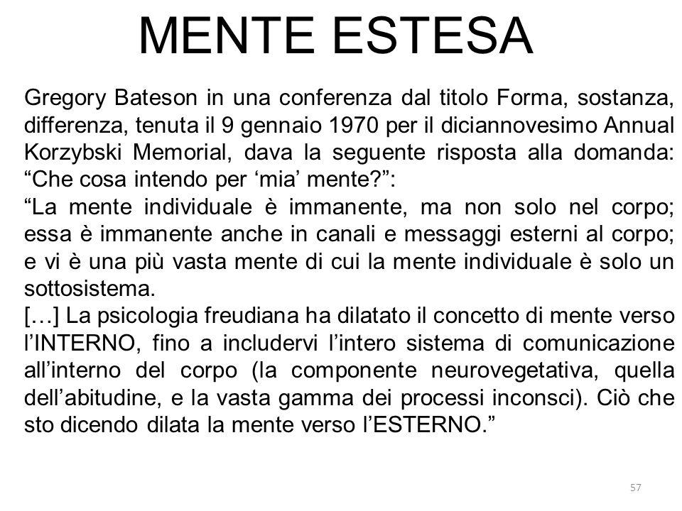 57 MENTE ESTESA Gregory Bateson in una conferenza dal titolo Forma, sostanza, differenza, tenuta il 9 gennaio 1970 per il diciannovesimo Annual Korzyb