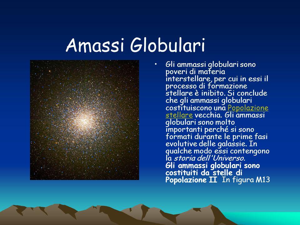 Amassi Globulari Gli ammassi globulari sono poveri di materia interstellare, per cui in essi il processo di formazione stellare è inibito.