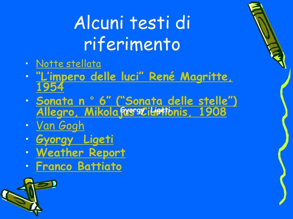 Alcuni testi di riferimento Notte stellata Limpero delle luci René Magritte, 1954Limpero delle luci René Magritte, 1954 Sonata n ° 6 (Sonata delle stelle) Allegro, Mikolajus Ciurlionis, 1908Sonata n ° 6 (Sonata delle stelle) Allegro, Mikolajus Ciurlionis, 1908 Van Gogh Gyorgy Ligeti Weather Report Franco Battiato Gyorgy Ligeti