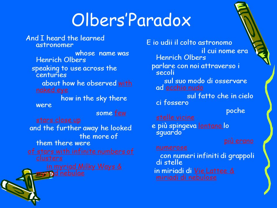 OlbersParadox And I heard the learned astronomer whose name was Henrich Olbers speaking to use across the centuries about how he observed with naked e