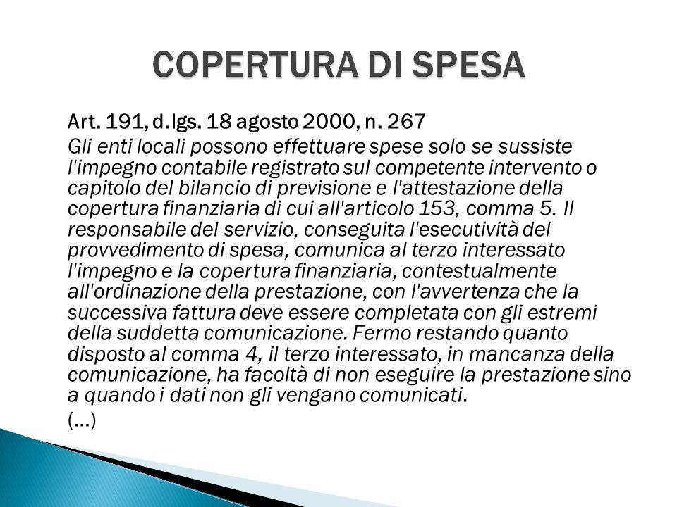 Art. 191, d.lgs. 18 agosto 2000, n.