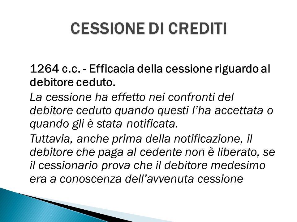 1264 c.c. - Efficacia della cessione riguardo al debitore ceduto.