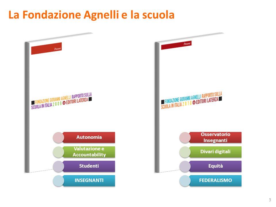 La Fondazione Agnelli e la scuola Autonomia Valutazione e Accountability Studenti INSEGNANTI Osservatorio Insegnanti Divari digitali Equità FEDERALISMO 3