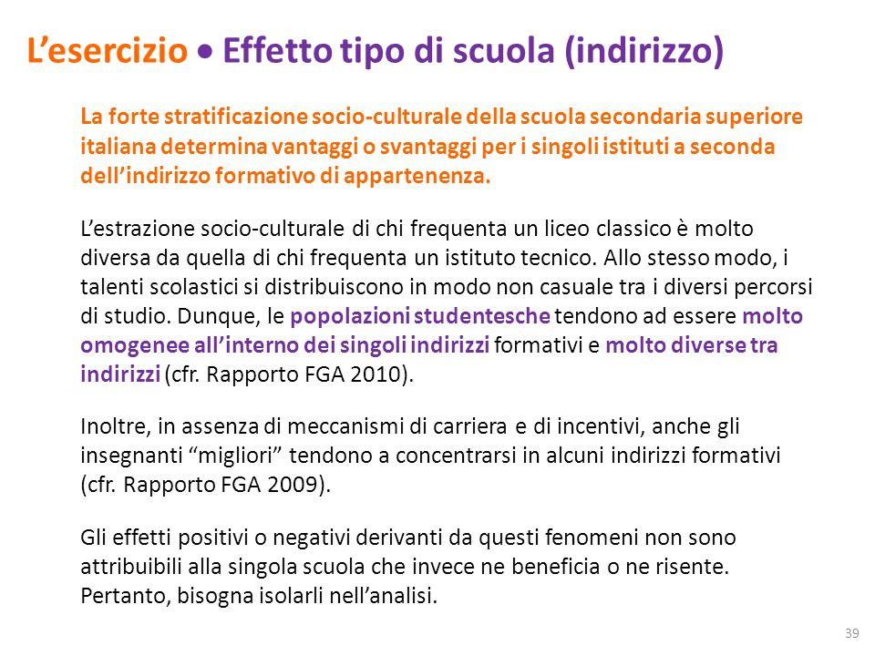 Lesercizio Effetto tipo di scuola (indirizzo) L a forte stratificazione socio-culturale della scuola secondaria superiore italiana determina vantaggi o svantaggi per i singoli istituti a seconda dellindirizzo formativo di appartenenza.