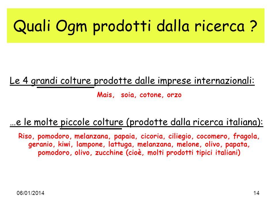 06/01/201414 Quali Ogm prodotti dalla ricerca ? Le 4 grandi colture prodotte dalle imprese internazionali: Mais, soia, cotone, orzo …e le molte piccol