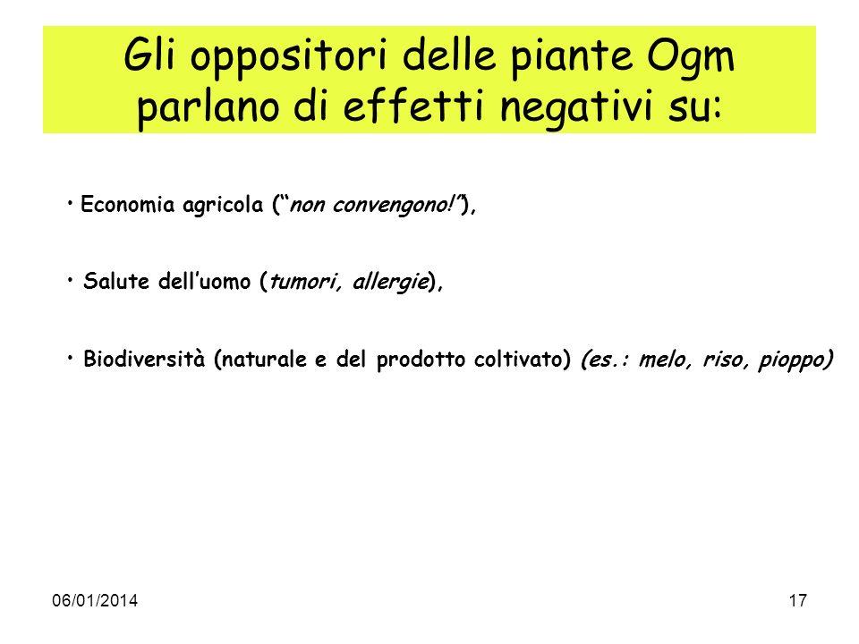 06/01/201417 Gli oppositori delle piante Ogm parlano di effetti negativi su: Economia agricola (non convengono!), Salute delluomo (tumori, allergie),