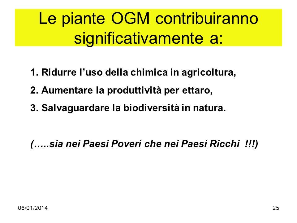 06/01/201425 Le piante OGM contribuiranno significativamente a: 1.Ridurre luso della chimica in agricoltura, 2.Aumentare la produttività per ettaro, 3