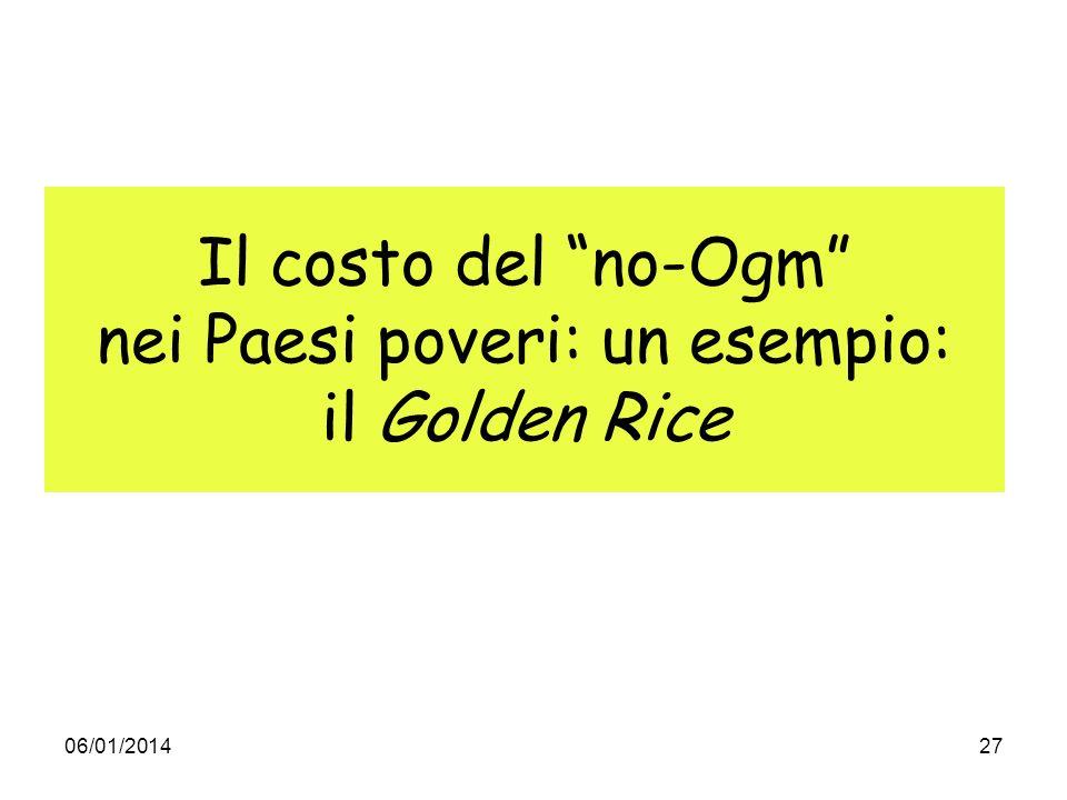 06/01/201427 Il costo del no-Ogm nei Paesi poveri: un esempio: il Golden Rice