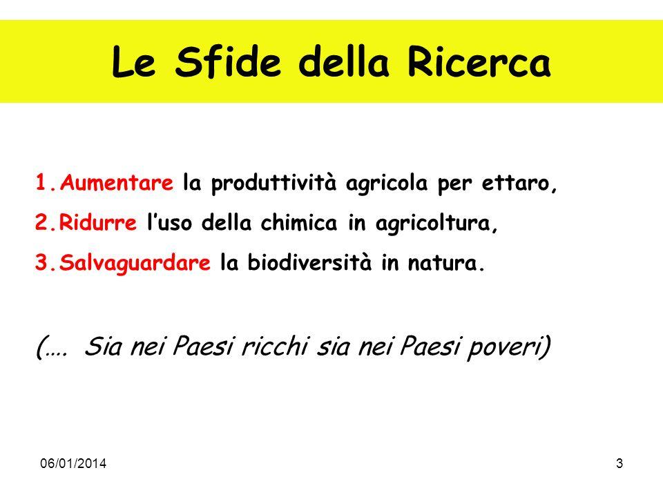 06/01/20143 Le Sfide della Ricerca 1.Aumentare la produttività agricola per ettaro, 2.Ridurre luso della chimica in agricoltura, 3.Salvaguardare la bi