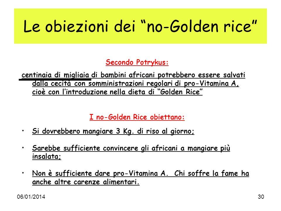 06/01/201430 Le obiezioni dei no-Golden rice Secondo Potrykus: centinaia di migliaia di bambini africani potrebbero essere salvati dalla cecità con so
