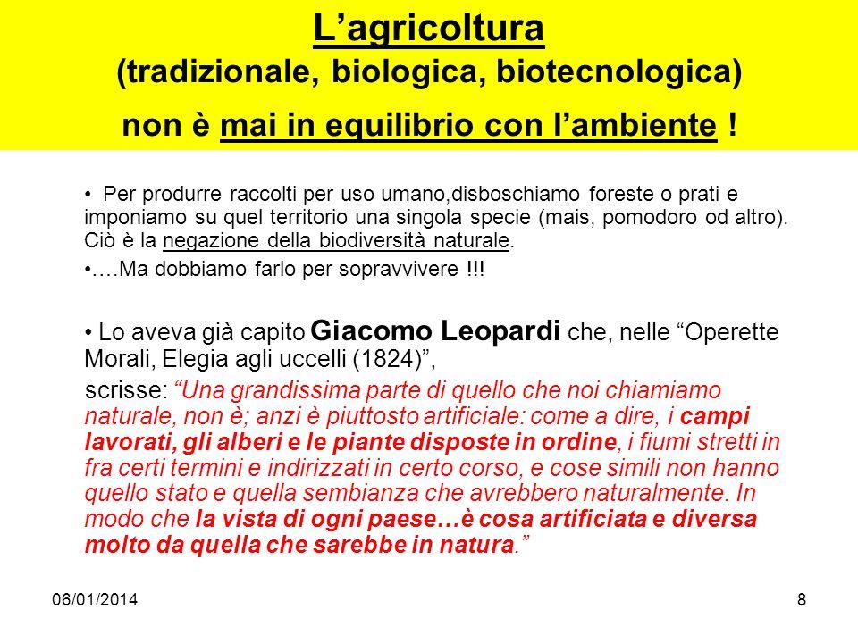 06/01/20148 Lagricoltura (tradizionale, biologica, biotecnologica) non è mai in equilibrio con lambiente ! Per produrre raccolti per uso umano,disbosc