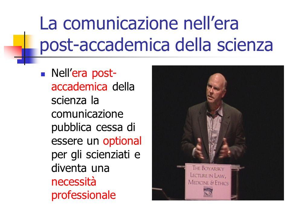 Compartecipazione alle scelte Nella nuova era post-accademica, le scelte rilevanti per lo sviluppo della scienza vengono prese dagli scienziati nei collegi invisibili non più in (quasi) totale autonomia, ma sempre più in compartecipazione con una serie di gruppi sociali (pubblici) di non esperti.