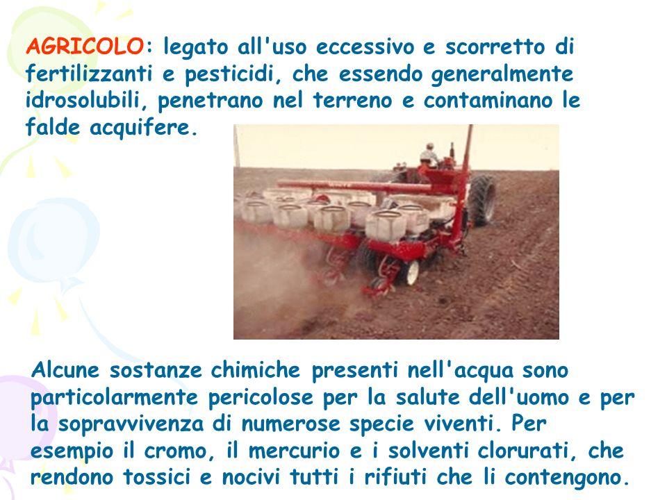 AGRICOLO: legato all'uso eccessivo e scorretto di fertilizzanti e pesticidi, che essendo generalmente idrosolubili, penetrano nel terreno e contaminan