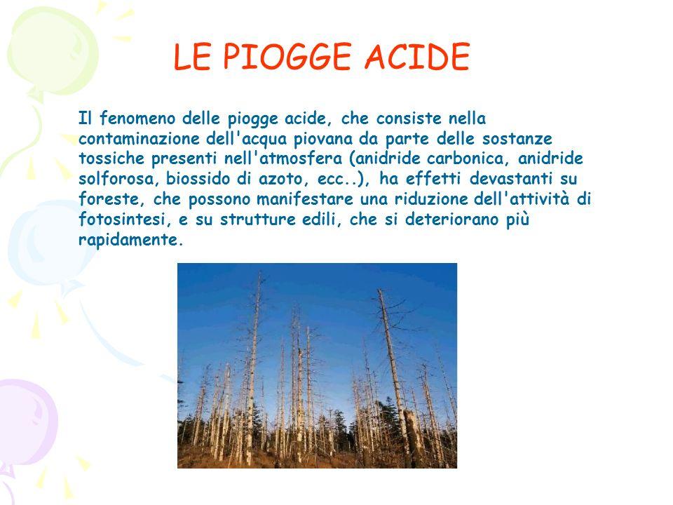 LE PIOGGE ACIDE Il fenomeno delle piogge acide, che consiste nella contaminazione dell'acqua piovana da parte delle sostanze tossiche presenti nell'at