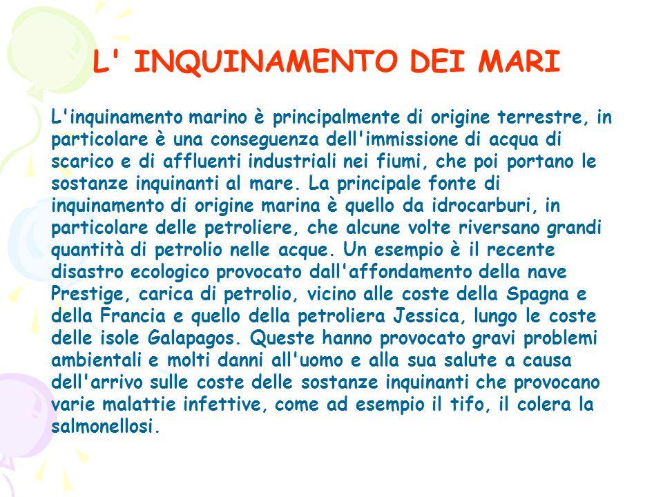 L' INQUINAMENTO DEI MARI L'inquinamento marino è principalmente di origine terrestre, in particolare è una conseguenza dell'immissione di acqua di sca