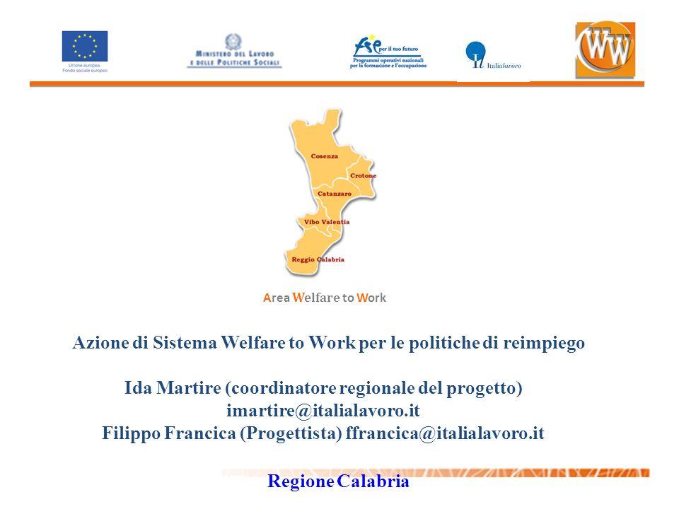 Area Welfare to Work Azione di Sistema Welfare to Work per le politiche di reimpiego Ida Martire (coordinatore regionale del progetto) imartire@italia
