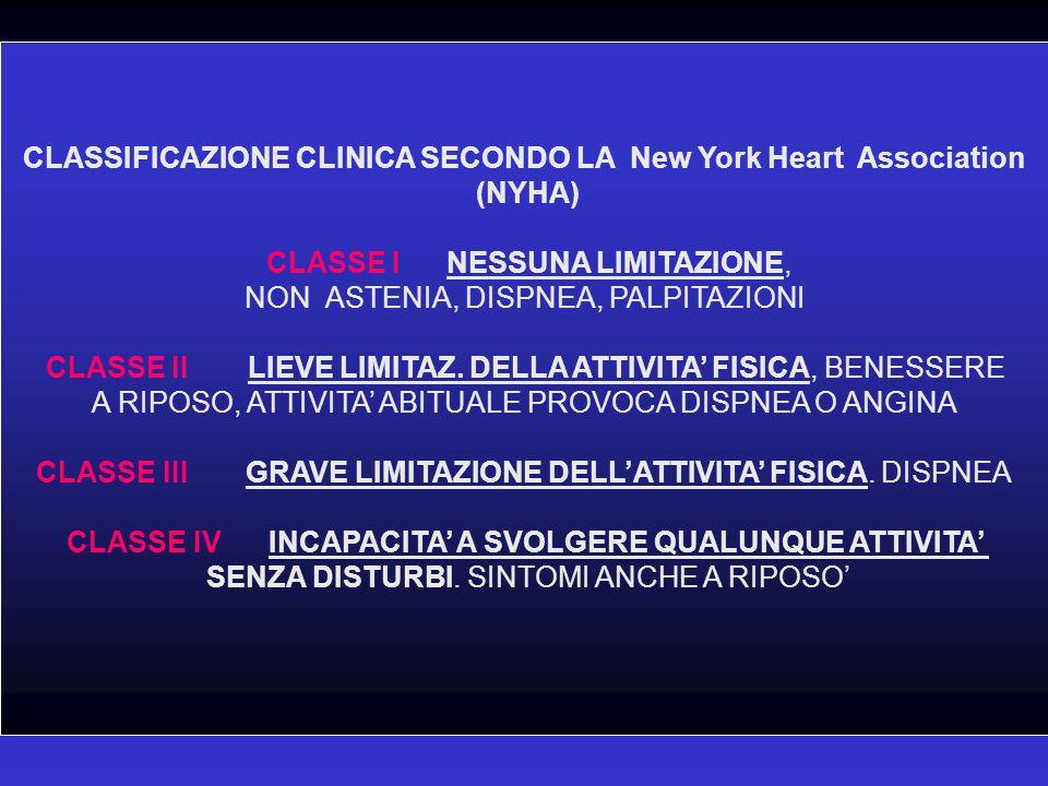 CLASSIFICAZIONE CLINICA SECONDO LA New York Heart Association (NYHA) CLASSE I NESSUNA LIMITAZIONE, NON ASTENIA, DISPNEA, PALPITAZIONI CLASSE IILIEVE L