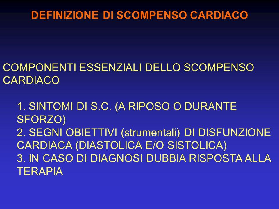 DEFINIZIONE DI SCOMPENSO CARDIACO COMPONENTI ESSENZIALI DELLO SCOMPENSO CARDIACO 1. SINTOMI DI S.C. (A RIPOSO O DURANTE SFORZO) 2. SEGNI OBIETTIVI (st