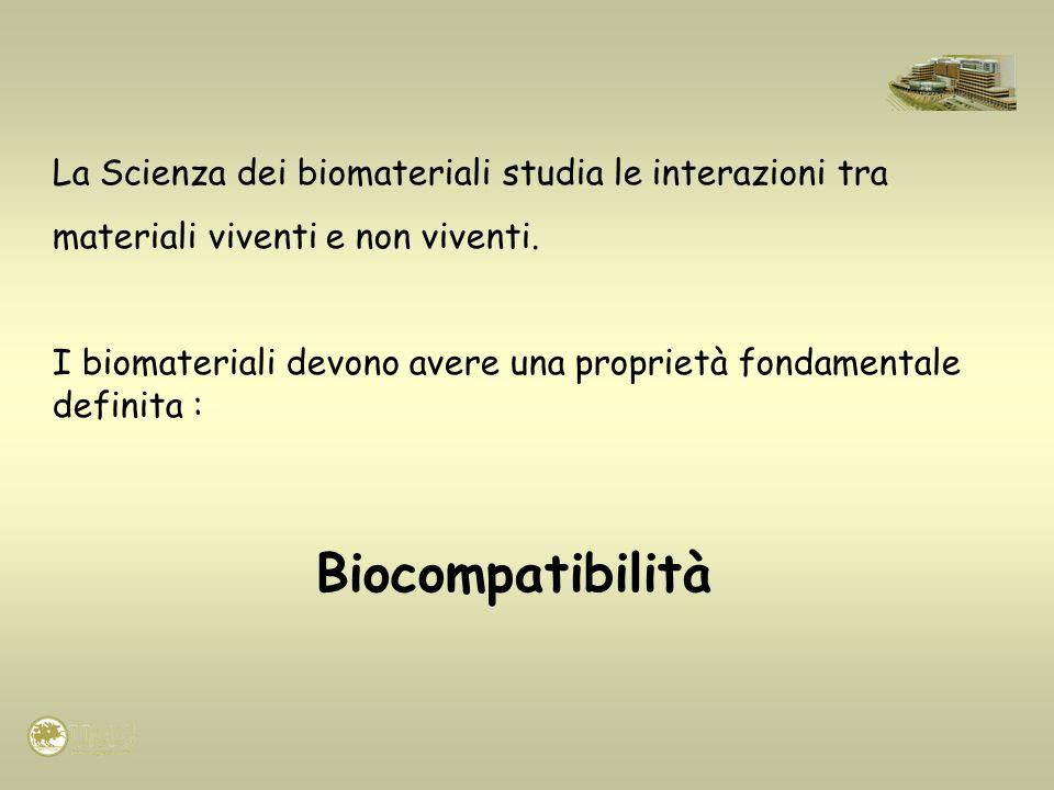 Il grado di biocompatibilità di un materiale dipende da: Forma Struttura Composizione Proprietà fisiche, chimiche, meccaniche, elettriche