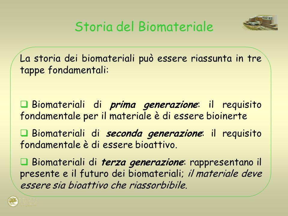 Storia del Biomateriale La storia dei biomateriali può essere riassunta in tre tappe fondamentali: Biomateriali di prima generazione: il requisito fon