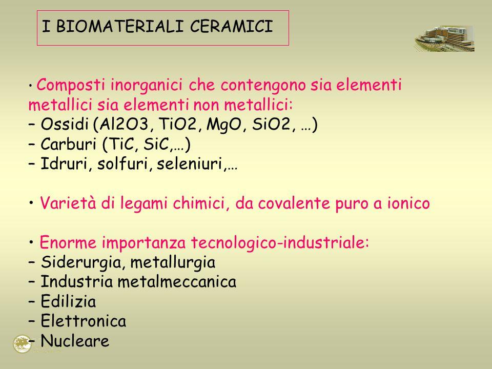 I BIOMATERIALI CERAMICI Composti inorganici che contengono sia elementi metallici sia elementi non metallici: – Ossidi (Al2O3, TiO2, MgO, SiO2, …) – C