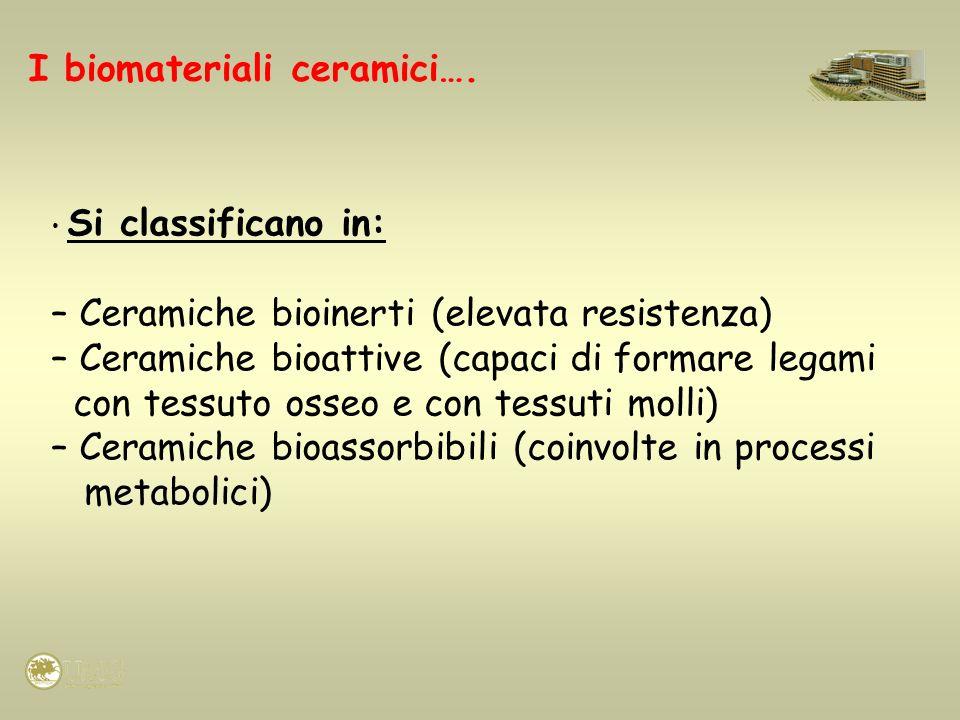 Si classificano in: – Ceramiche bioinerti (elevata resistenza) – Ceramiche bioattive (capaci di formare legami con tessuto osseo e con tessuti molli)
