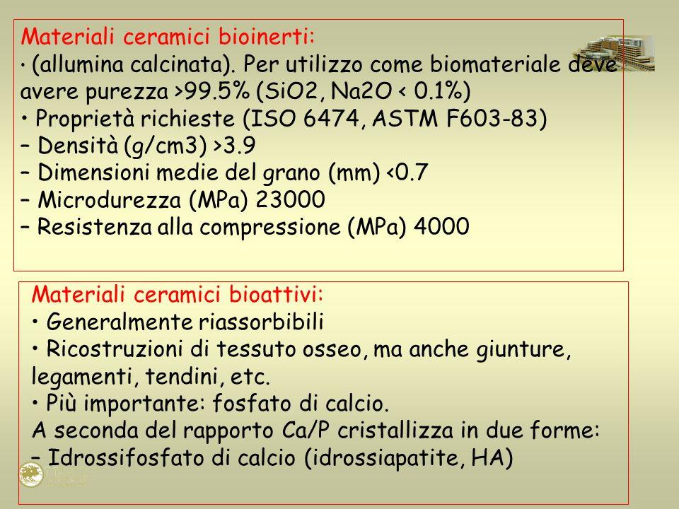 Materiali ceramici bioattivi: Generalmente riassorbibili Ricostruzioni di tessuto osseo, ma anche giunture, legamenti, tendini, etc. Più importante: f