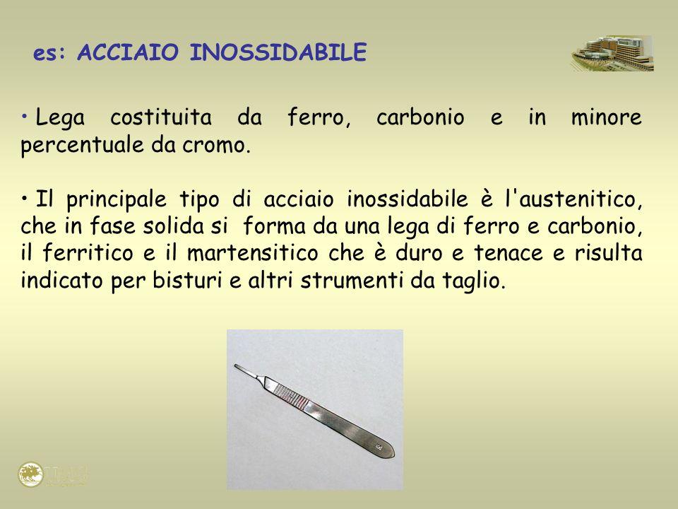 es: ACCIAIO INOSSIDABILE Lega costituita da ferro, carbonio e in minore percentuale da cromo. Il principale tipo di acciaio inossidabile è l'austeniti
