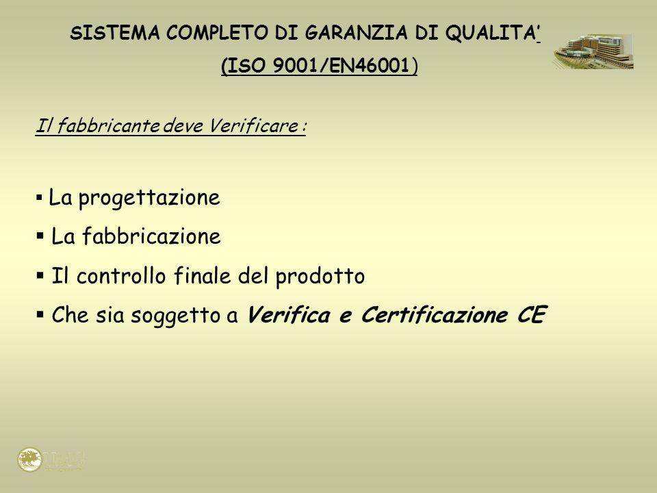 SISTEMA COMPLETO DI GARANZIA DI QUALITA (ISO 9001/EN46001) Il fabbricante deve Verificare : La progettazione La fabbricazione Il controllo finale del