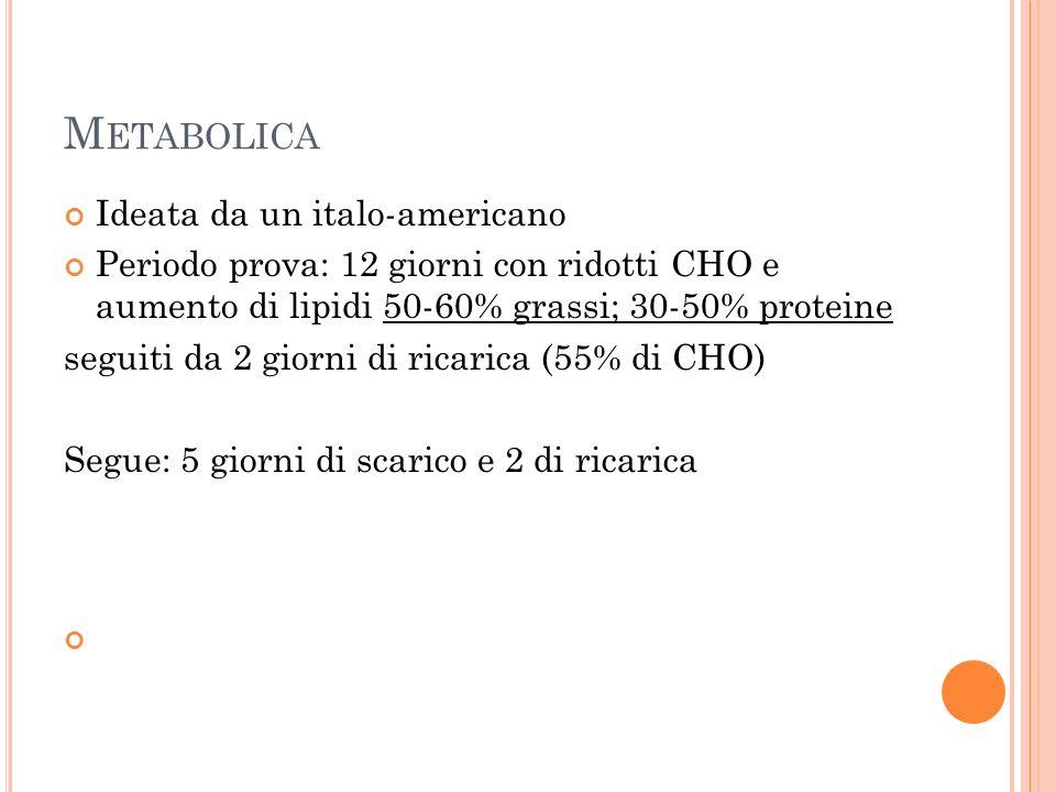 M ETABOLICA Ideata da un italo-americano Periodo prova: 12 giorni con ridotti CHO e aumento di lipidi 50-60% grassi; 30-50% proteine seguiti da 2 giorni di ricarica (55% di CHO) Segue: 5 giorni di scarico e 2 di ricarica