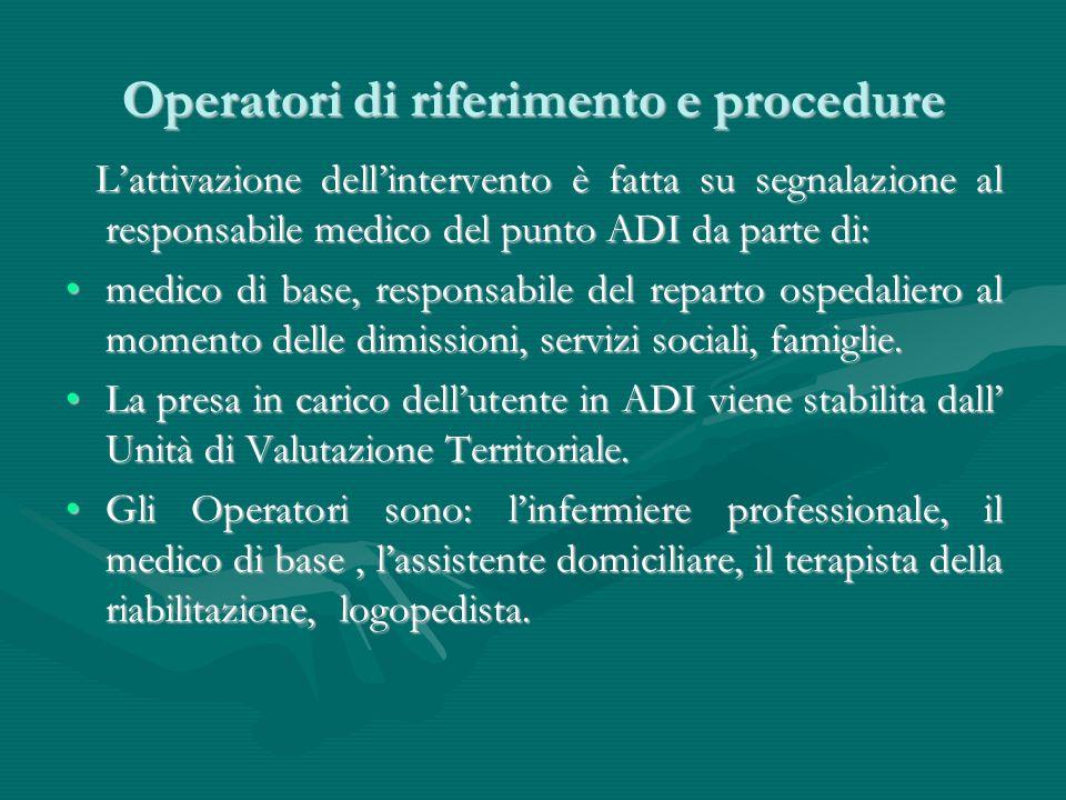 Operatori di riferimento e procedure Lattivazione dellintervento è fatta su segnalazione al responsabile medico del punto ADI da parte di: Lattivazion
