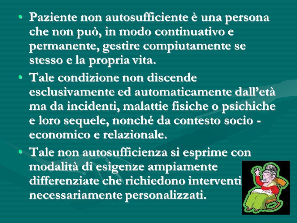 Paziente non autosufficiente è una persona che non può, in modo continuativo e permanente, gestire compiutamente se stesso e la propria vita.Paziente