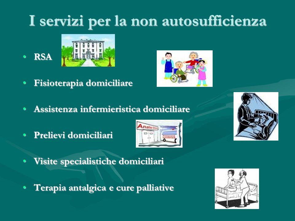 I servizi per la non autosufficienza RSARSA Fisioterapia domiciliareFisioterapia domiciliare Assistenza infermieristica domiciliareAssistenza infermie