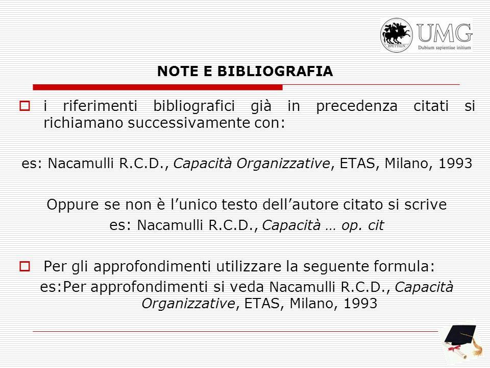 NOTE E BIBLIOGRAFIA i riferimenti bibliografici già in precedenza citati si richiamano successivamente con: es: Nacamulli R.C.D., Capacità Organizzati