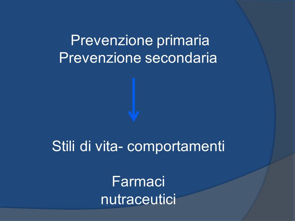 Prevenzione primaria Prevenzione secondaria Stili di vita- comportamenti Farmaci nutraceutici