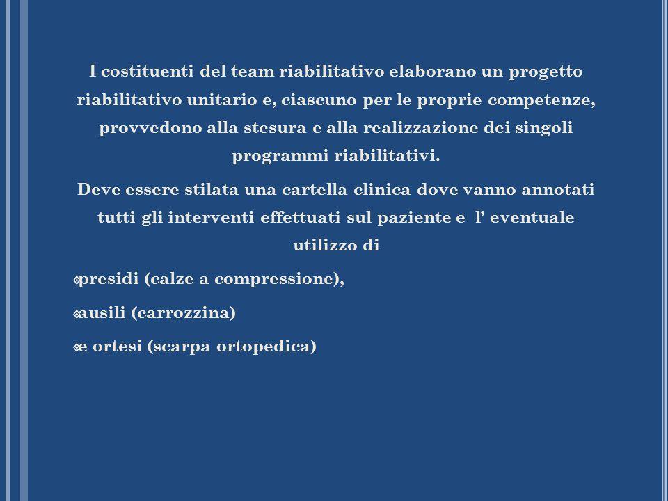 I costituenti del team riabilitativo elaborano un progetto riabilitativo unitario e, ciascuno per le proprie competenze, provvedono alla stesura e all