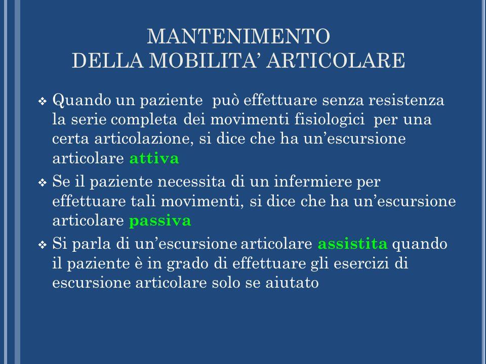 MANTENIMENTO DELLA MOBILITA ARTICOLARE Quando un paziente può effettuare senza resistenza la serie completa dei movimenti fisiologici per una certa ar