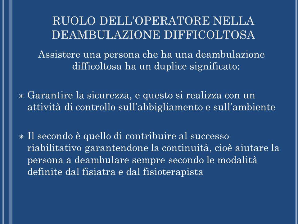 RUOLO DELLOPERATORE NELLA DEAMBULAZIONE DIFFICOLTOSA Assistere una persona che ha una deambulazione difficoltosa ha un duplice significato: Garantire