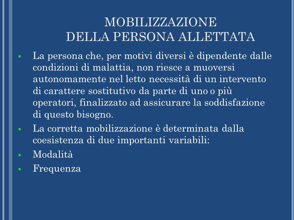 MOBILIZZAZIONE DELLA PERSONA ALLETTATA La persona che, per motivi diversi è dipendente dalle condizioni di malattia, non riesce a muoversi autonomamen