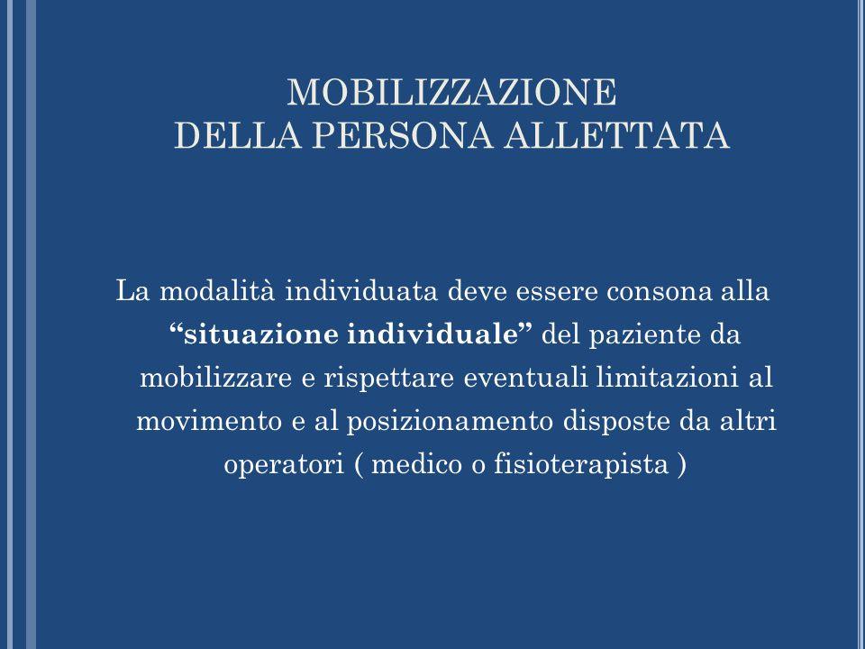 MOBILIZZAZIONE DELLA PERSONA ALLETTATA La modalità individuata deve essere consona alla situazione individuale del paziente da mobilizzare e rispettar