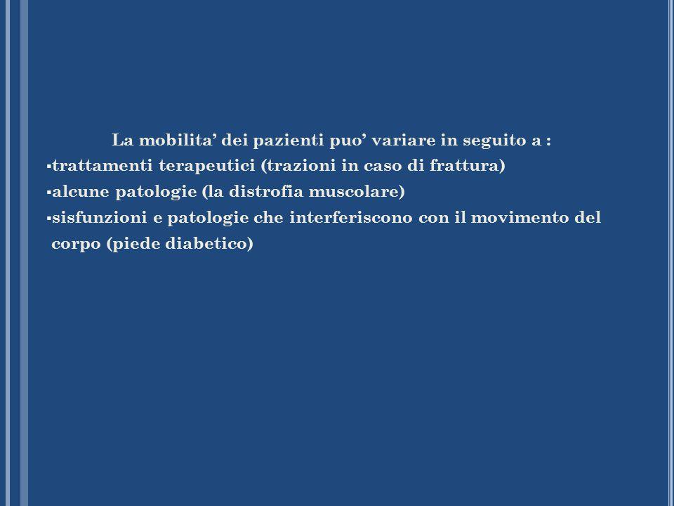 La mobilita dei pazienti puo variare in seguito a : trattamenti terapeutici (trazioni in caso di frattura) alcune patologie (la distrofia muscolare) s