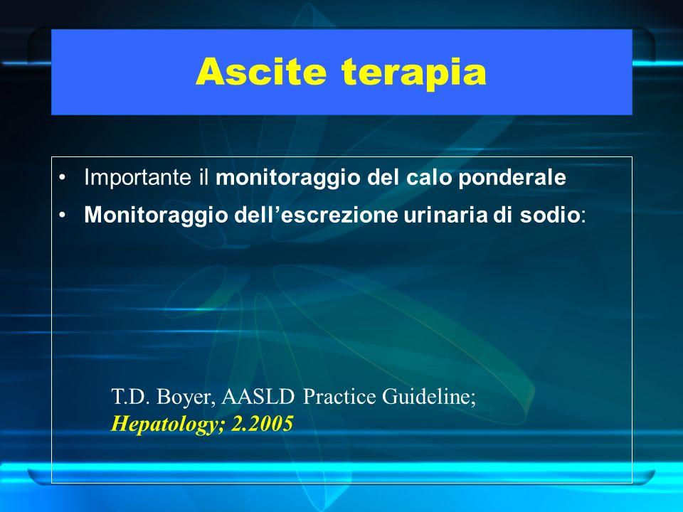 Ascite terapia Importante il monitoraggio del calo ponderale Monitoraggio dellescrezione urinaria di sodio: T.D. Boyer, AASLD Practice Guideline; Hepa